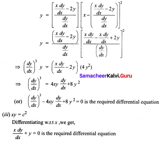Samacheer Kalvi 12th Business Maths Solutions Chapter 4 Differential Equations Ex 4.1 Q2.1