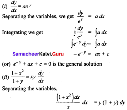 Samacheer Kalvi 12th Business Maths Solutions Chapter 4 Differential Equations Ex 4.2 Q1