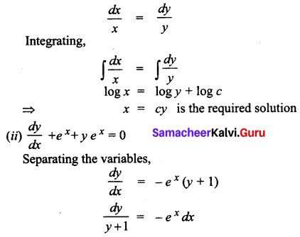 Samacheer Kalvi 12th Business Maths Solutions Chapter 4 Differential Equations Ex 4.2 Q3