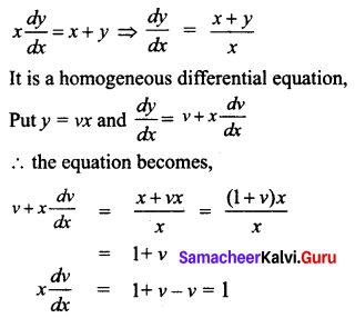 Samacheer Kalvi 12th Business Maths Solutions Chapter 4 Differential Equations Ex 4.3 Q1