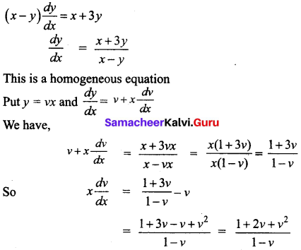 Samacheer Kalvi 12th Business Maths Solutions Chapter 4 Differential Equations Ex 4.3 Q2