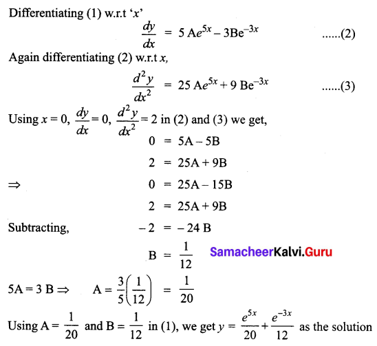 Samacheer Kalvi 12th Business Maths Solutions Chapter 4 Differential Equations Ex 4.5 Q5