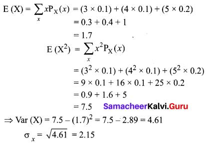 Samacheer Kalvi 12th Business Maths Solutions Chapter 6 Random Variable and Mathematical Expectation Ex 6.2 Q3.1