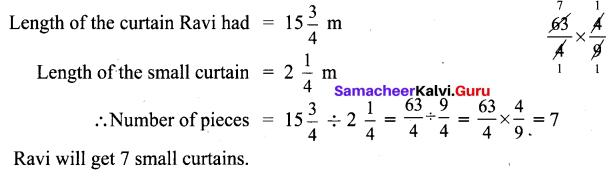 6th Standard Samacheer Kalvi Maths 3rd Term Chapter 1 Fractions Ex 1.1
