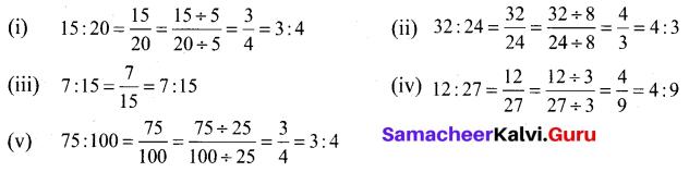 Samacheer Kalvi 6th Maths Term 1 Chapter 3 Ratio and Proportion Ex 3.1 Q3