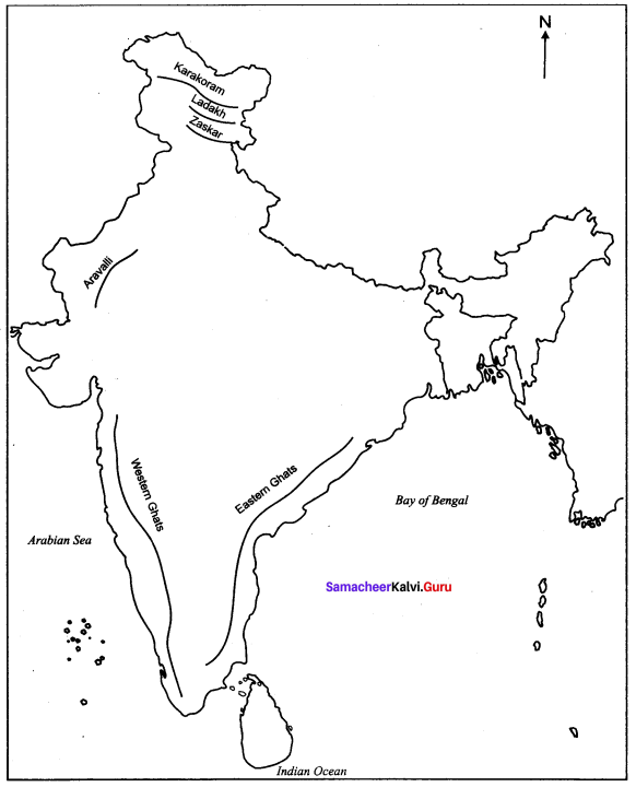India Location Relief And Drainage Questions And Answers Samacheer Kalvi 10th Social Science Geography Solutions Chapter 1