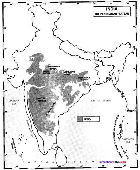 10th Geography Samacheer Kalvi Chapter 1 India: Location, Relief And Drainage