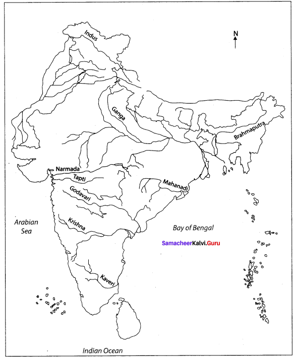 India Location, Relief And Drainage Notes Samacheer Kalvi 10th Social Science Geography Solutions Chapter 1