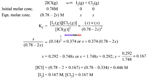 Samacheer Kalvi 11th Chemistry Solutions Chapter 8 Physical and Chemical Equilibrium-103