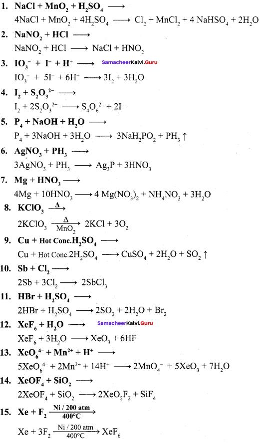 Samacheer Kalvi Class 12 Chemistry Solutions Chapter 3 P-Block Elements - II