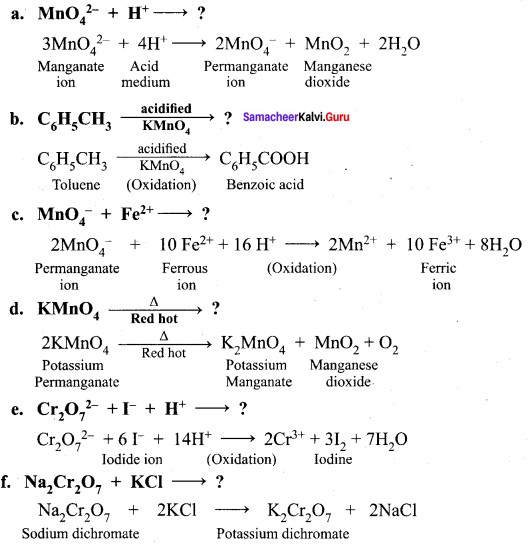Samacheer Kalvi 12th Chemistry Solutions Chapter 4 Transition And Inner Transition Elements