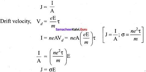 Current Electricity Short Notes Samacheer Kalvi 12th Physics Solutions Chapter 2