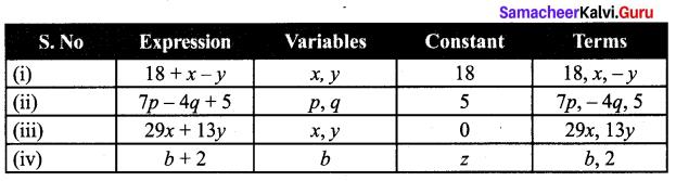 Samacheer Kalvi 7th Maths Solutions Term 1 Chapter 3 Algebra Ex 3.1 1