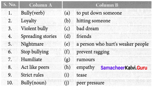Taking The Bully By The Horns Question Answer Samacheer Kalvi 7th English Solutions Term 1 Supplementary Chapter 3